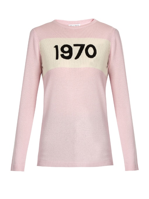 Cashmere 1970 Printed Sweater in Pink