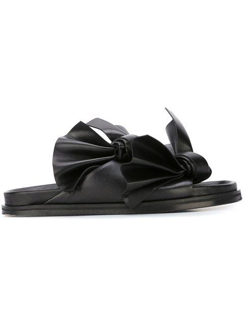 CEDRIC CHARLIER Black Bow Birks Sandals in Nero