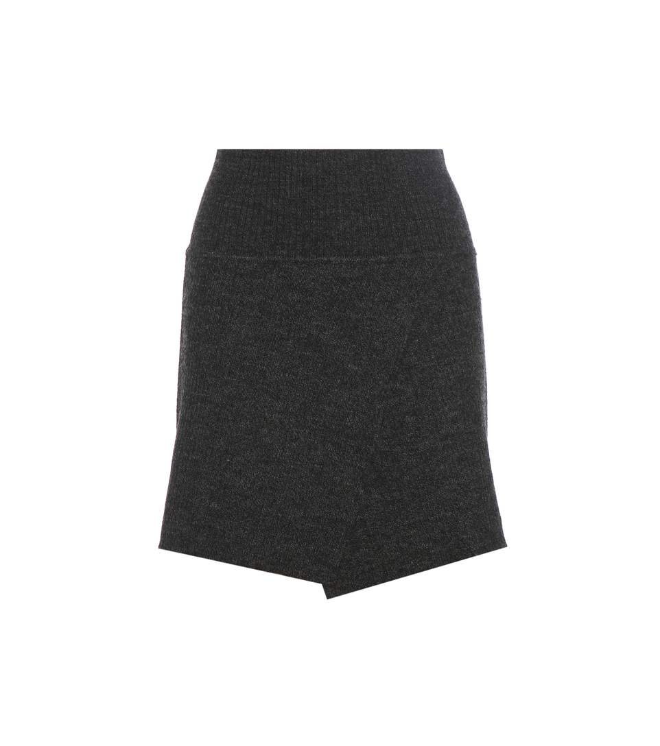 Blithe Stretch Wool Knit Skirt in Grey