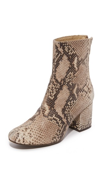 'Cecile' Block Heel Bootie (Women) in Taupe