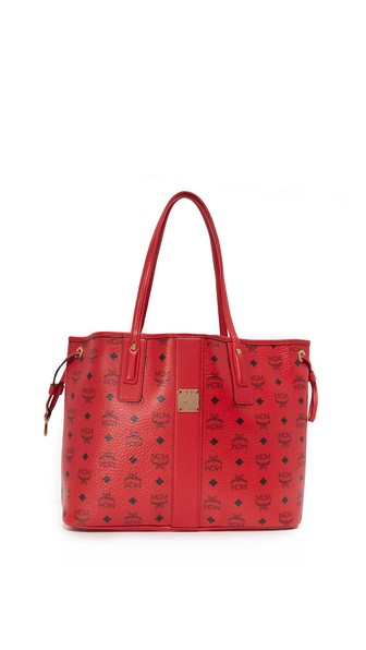 Liz Large Reversible Shopper Tote Bag in Ruby Red