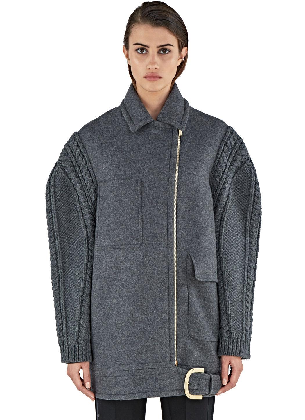 Women'S Knitted Sleeve Felted Wool Coat In Grey, Graeite