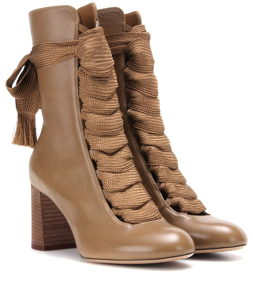 Harper Leather Boots in Khaki Greee