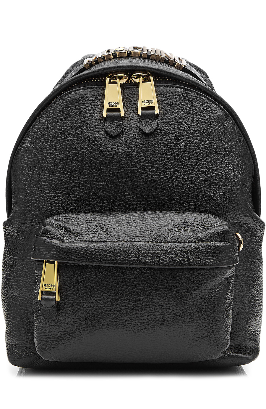 Leather Backpack With Gilded Logo Embellishment in Black