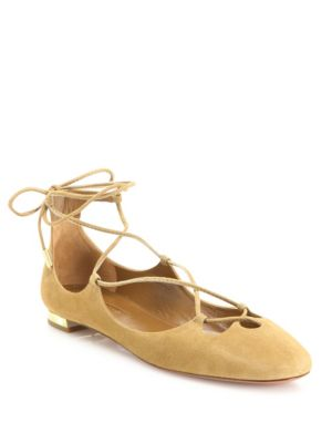 Dancer Suede Lace-Up Flats, Cappuccino