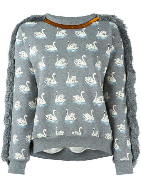 Fringe Trim Swan Print Cotton Sweatshirt, Grey