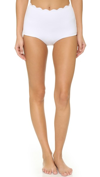 0501a14d021ff MARYSIA SANTA MONICA HIGH-WAIST SCALLOPED SWIM BIKINI BOTTOM, WHITE