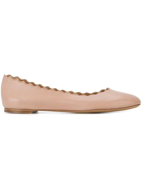 Lauren Scalloped Leather Ballet Flats in Blush