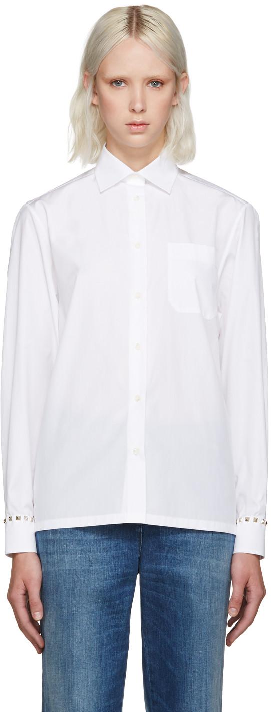 Rockstud Untitled 05 Noir' Poplin Shirt in 0Bo White