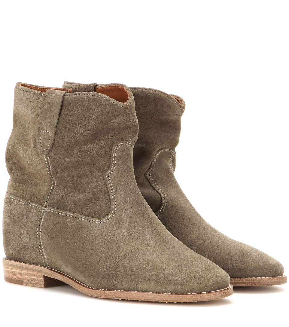 Étoile Crisi Suede Ankle Boots in Gray Green