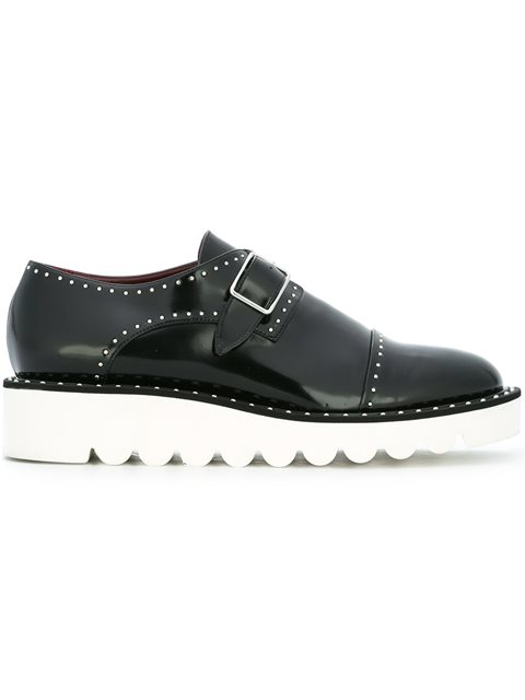 Odette Studded Faux Glossed-Leather Brogues in Black