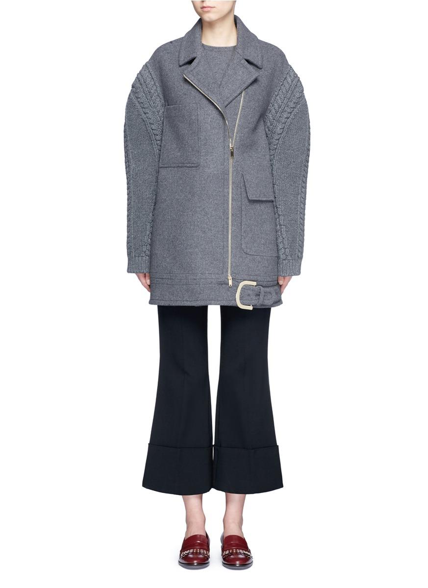 STELLA MCCARTNEY Women'S Knitted Sleeve Felted Wool Coat In Grey ...