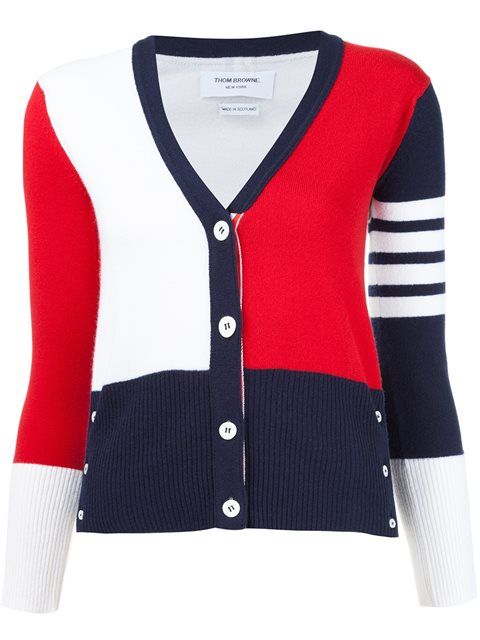 Color Blocked Cashmere Cardigan, Navy/White/Red in Blue