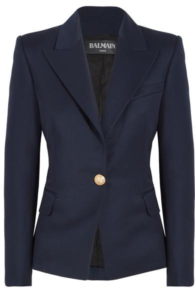 Single-Breasted Peak-Lapel Wool Blazer, Navy