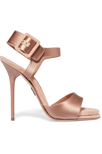 Kalida Satin And Suede Sandals, Nude & Neutrals