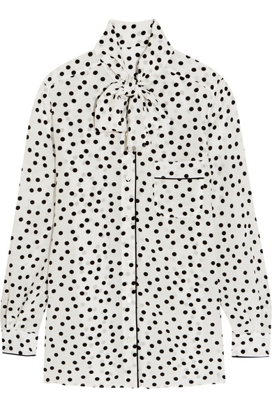 Pussy-Bow Polka-Dot Silk Crepe De Chine Blouse in White