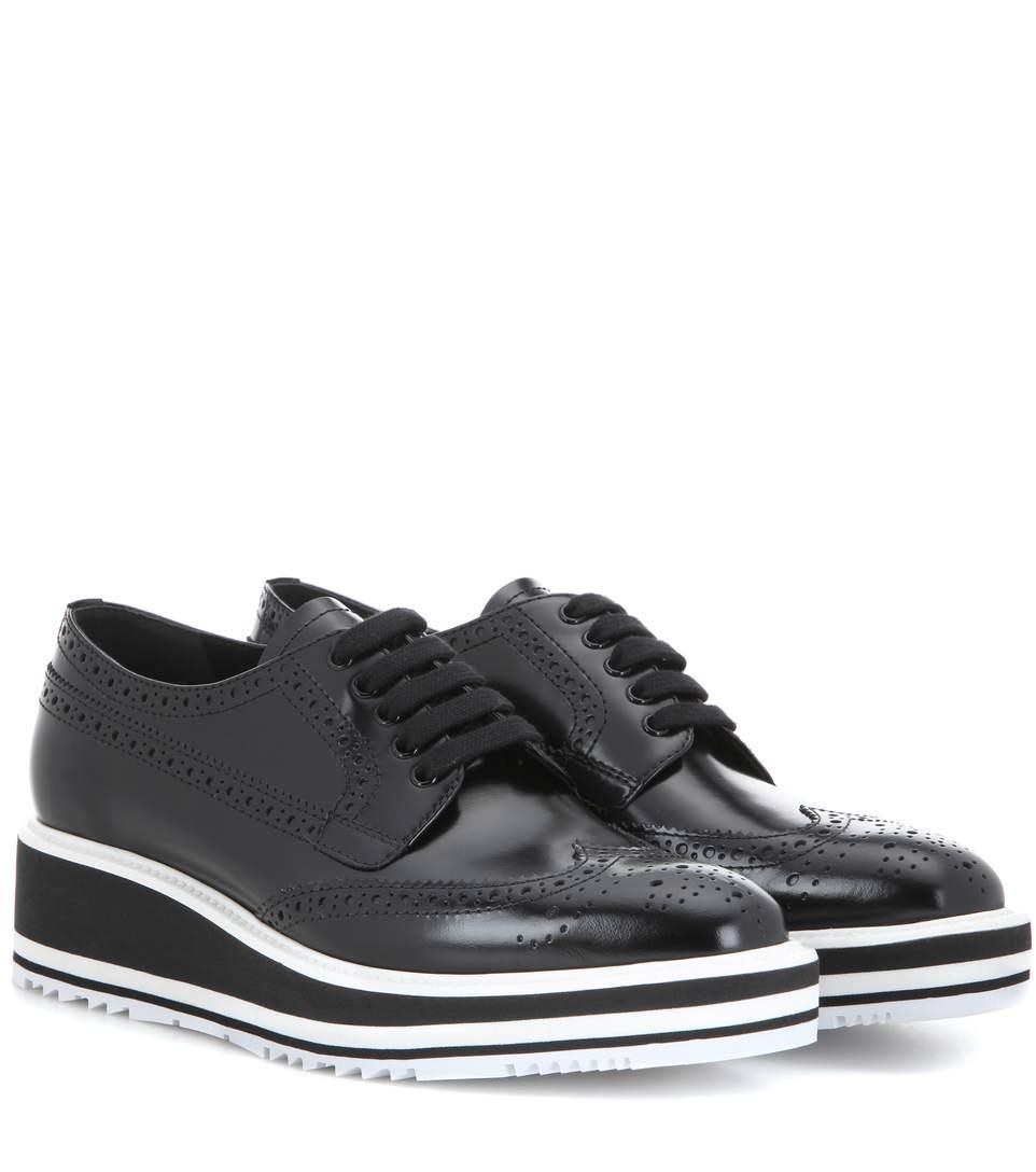 Wingtip Leather Platform Brogues, Black
