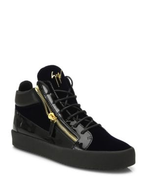 GIUSEPPE ZANOTTI Men'S Crystal-Lace Velvet & Leather Mid-Top Sneakers, Navy Velvet/ Leather