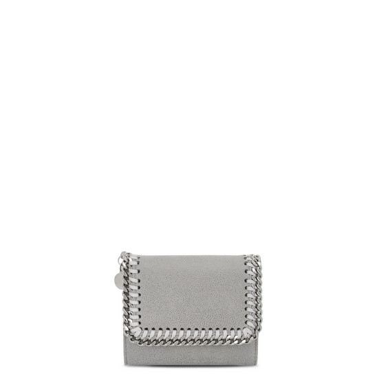 Small Falabella Shaggy Deer Flap Wallet, Light Gray