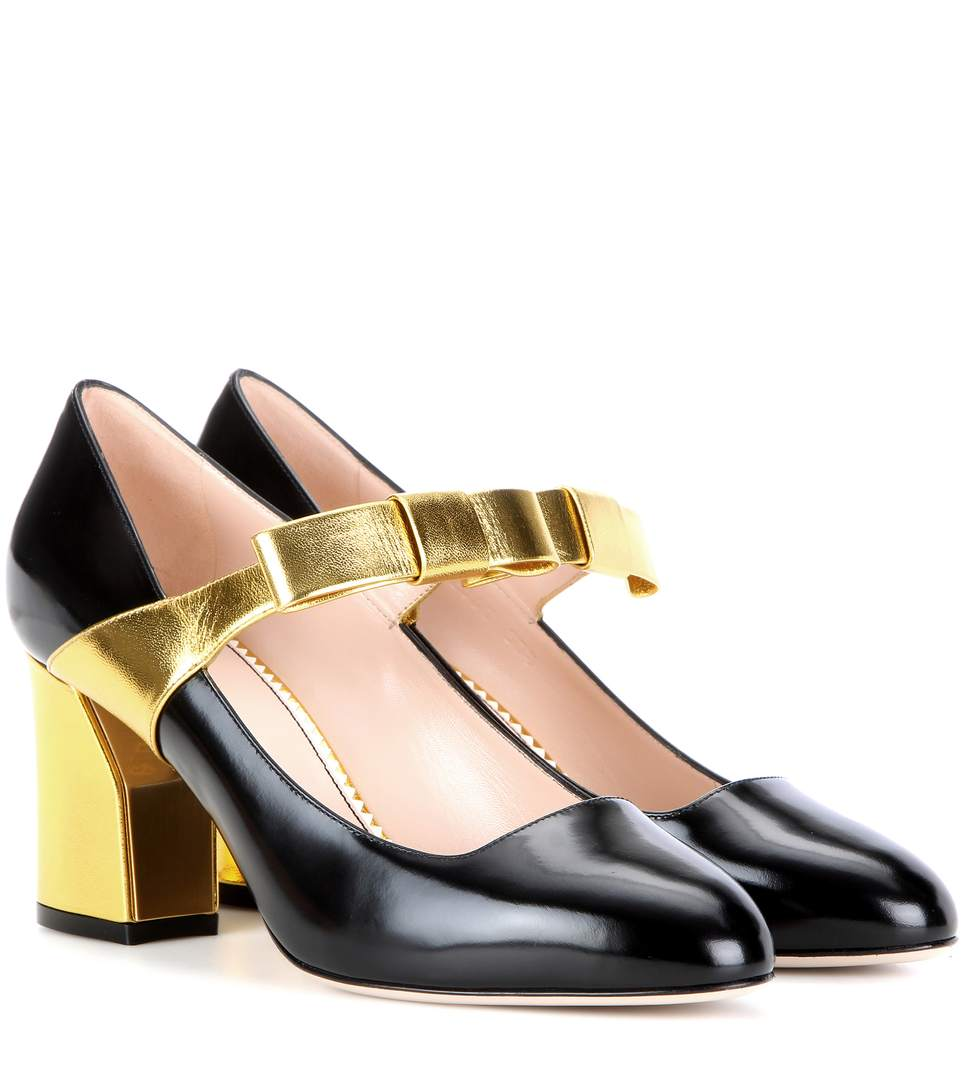 Women'S Metallic Block Heeled Mary Jane Pumps In Black And Gold
