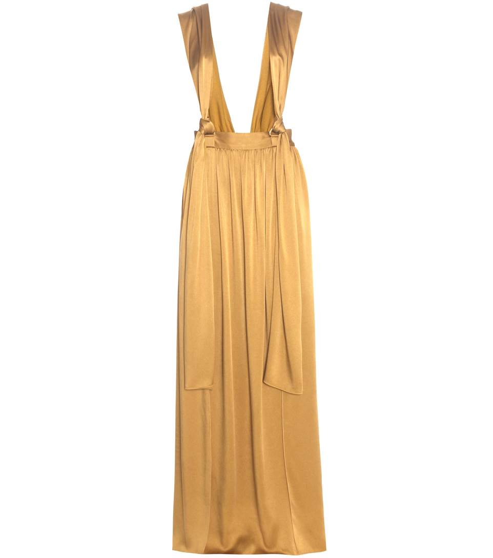 Women'S Long Satin Brace Skirt In Gold in Mustard