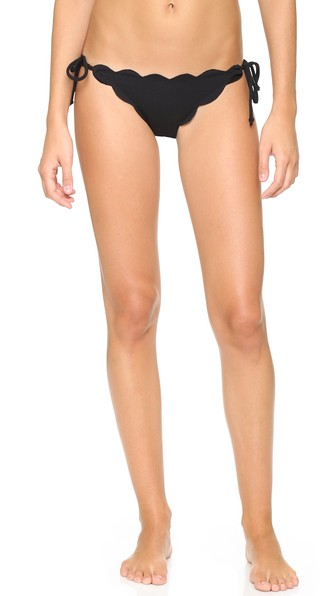 Mott Tie-Side Scalloped Swim Bottom, Papaya, Black