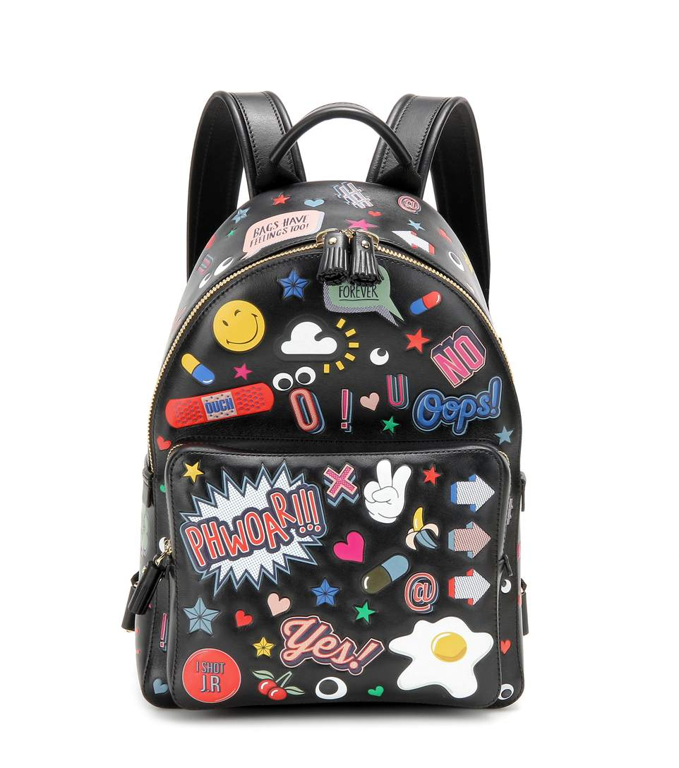 All Over Stickers Mini Leather Backpack in Black