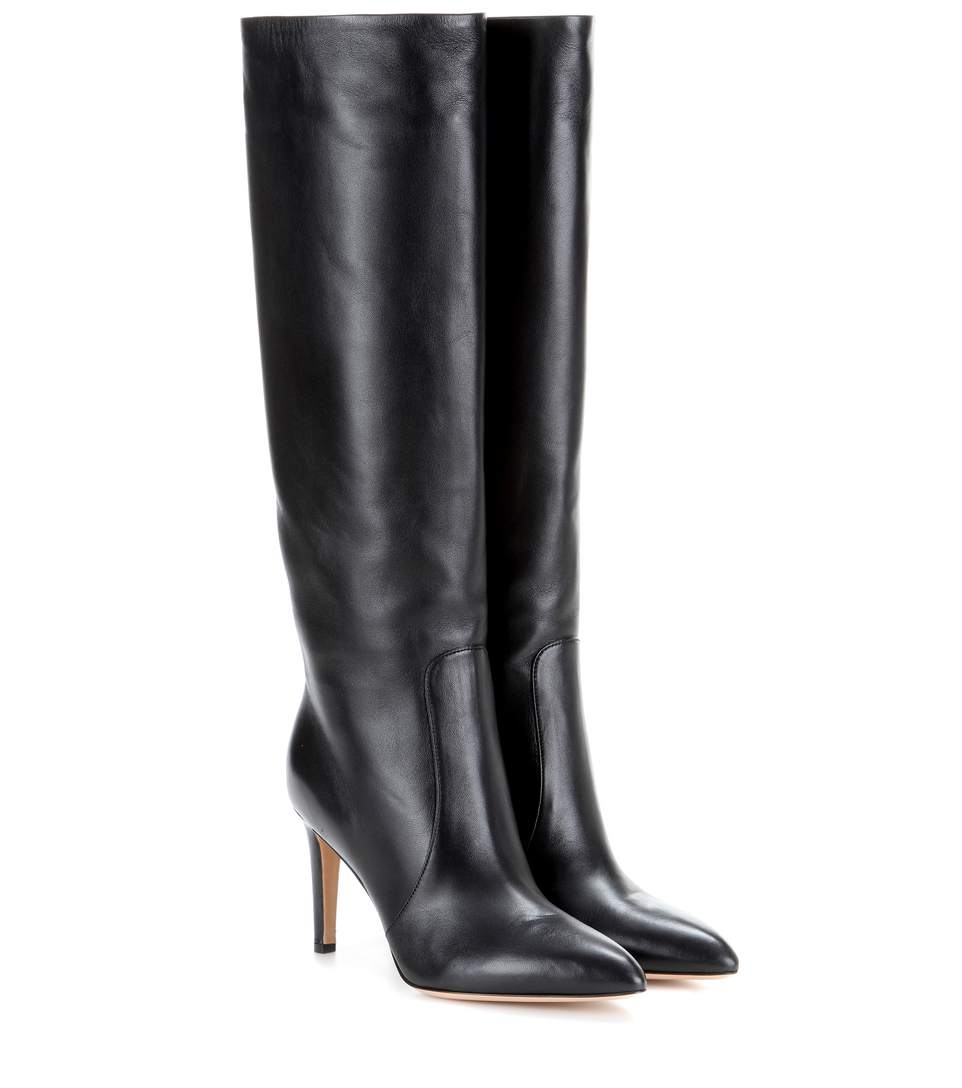 Glossed Leather Knee Boots - Black Size 9
