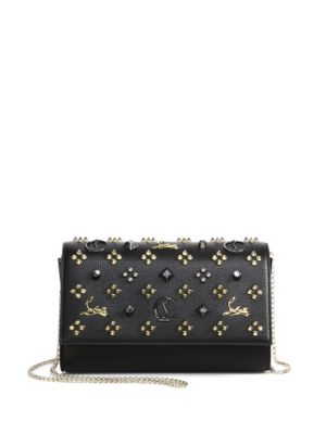 Paloma Convertible Studded Leather Clutch, Black