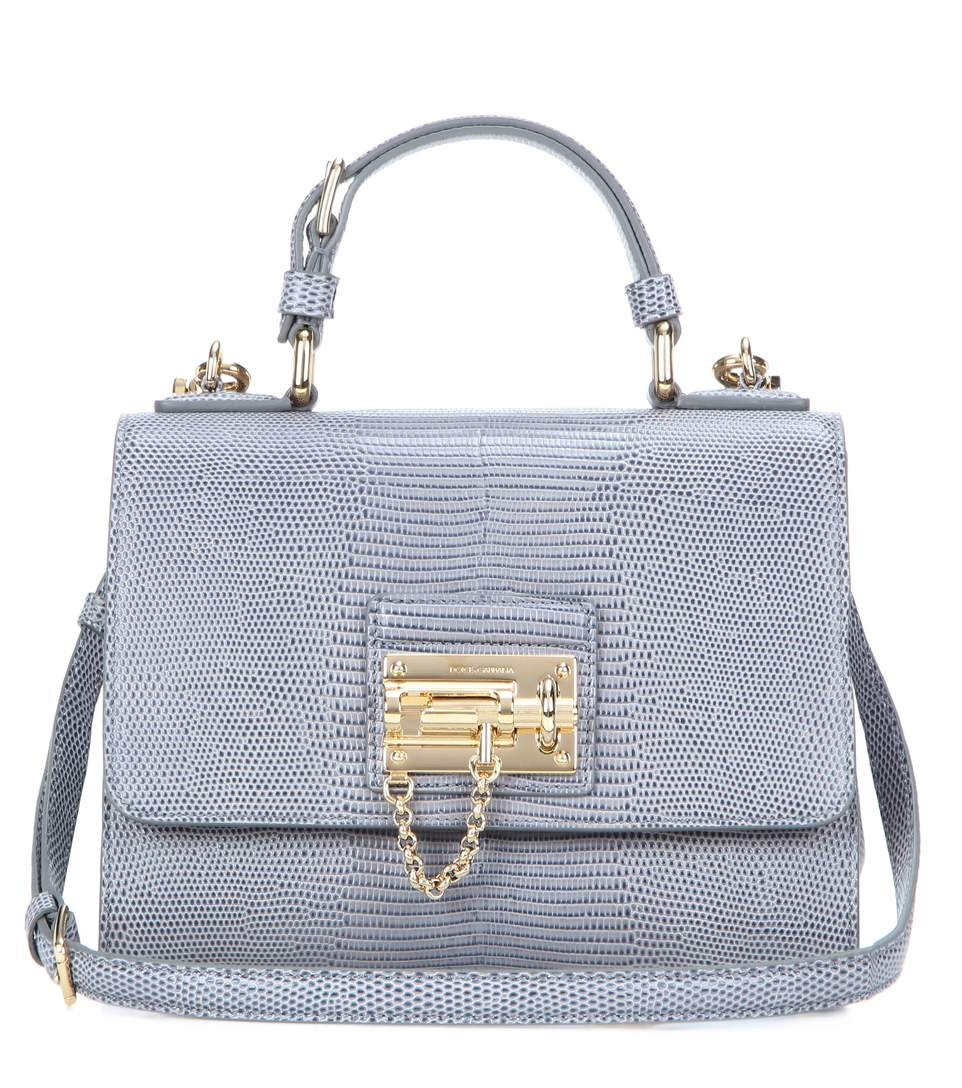 Monica Small Embossed Leather Shoulder Bag in Grey