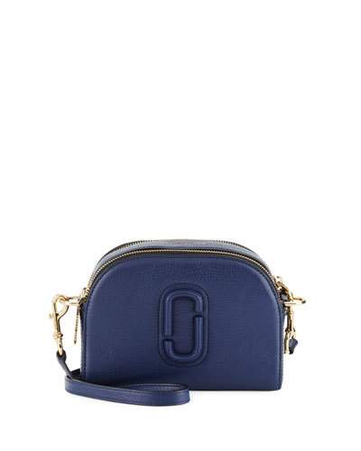 Shutter Small Leather Camera Bag, Midnight Blue