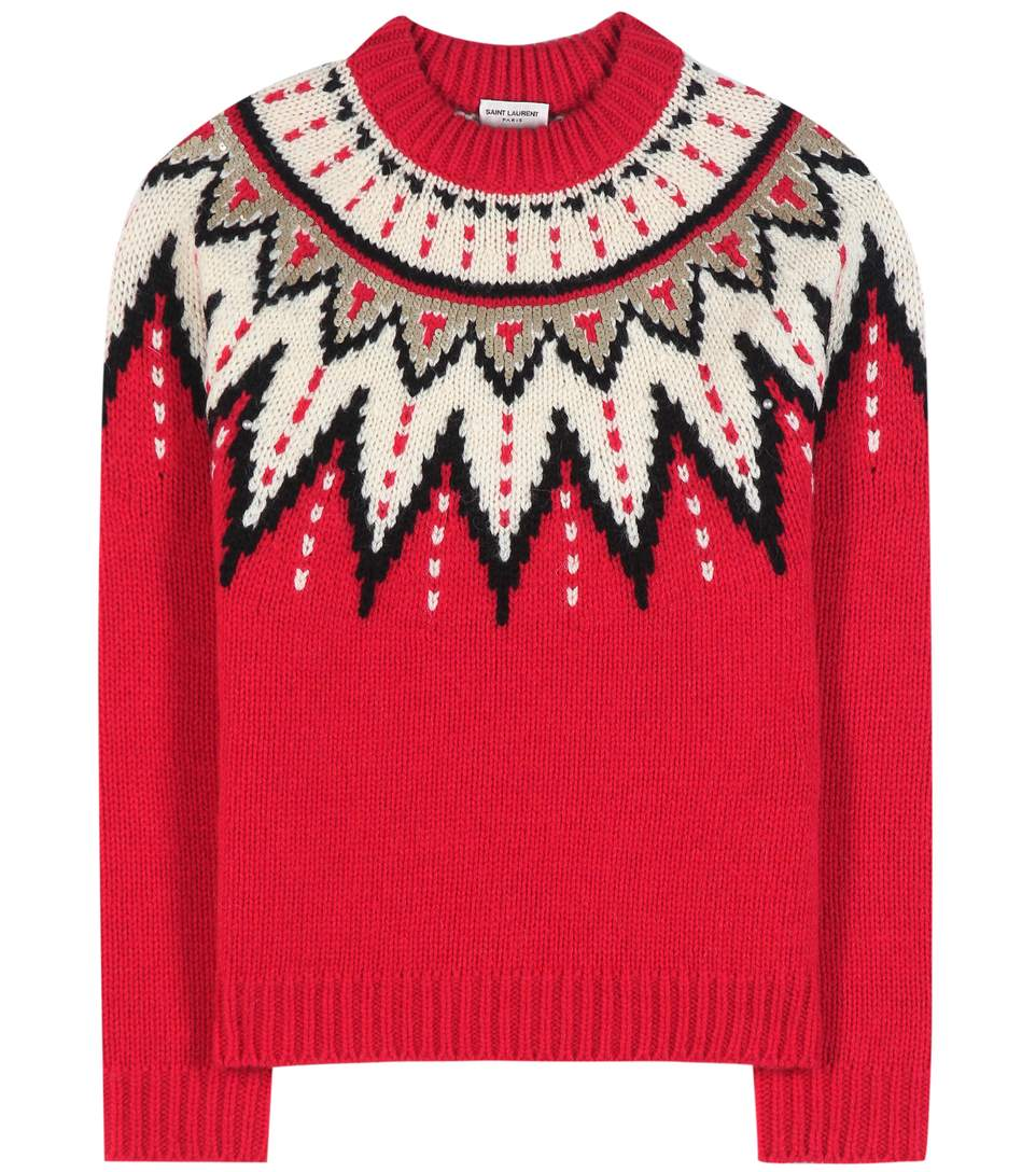 SAINT LAURENT Men'S Fair Isle Sequin Thick Knitted Sweater In Red ...