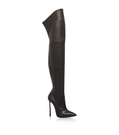 Blade Bow Over-The-Knee Boots, Black from CASADEI