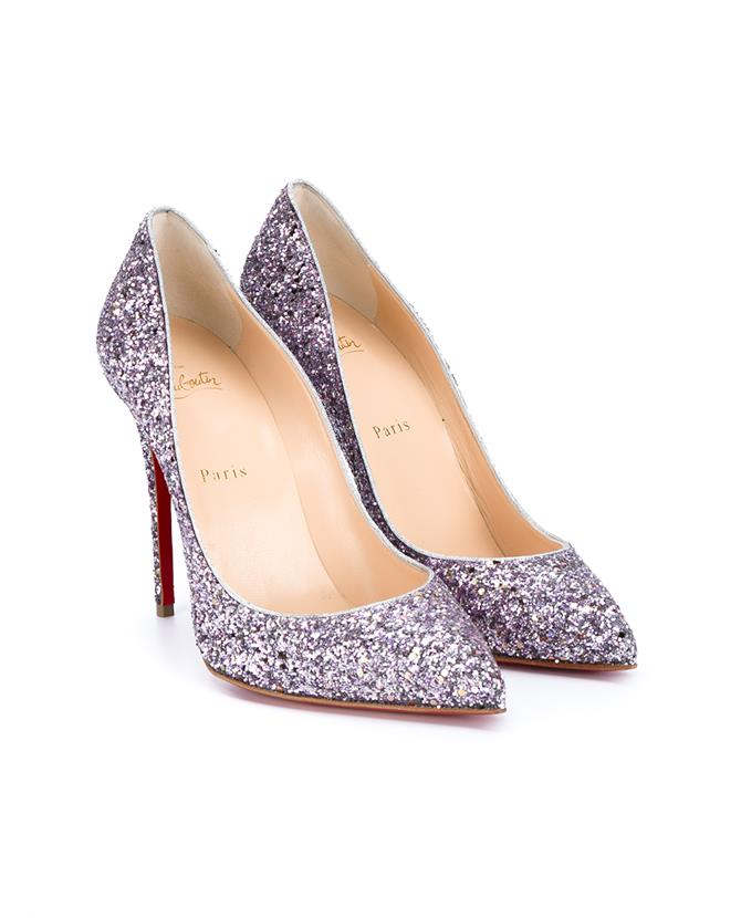 CHRISTIAN LOUBOUTIN PIGALLE FOLLIES GLITTER LEATHER PUMPS, LIGHT-PINK AND SILVER-TONE