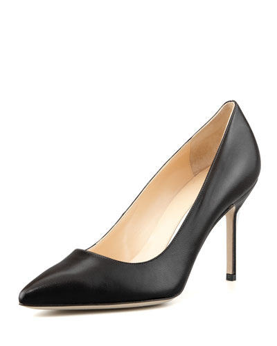MANOLO BLAHNIK Bb Leather 90Mm Pump, Black in Nude