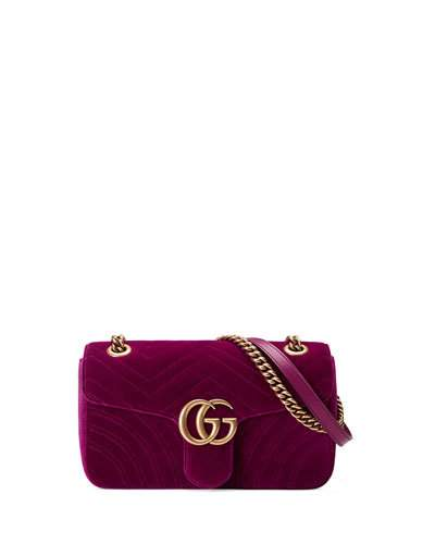 Gg Marmont 2.0 Suede Shoulder Bag, <Font><Font>Fuchsia</Font></Font> in Pink
