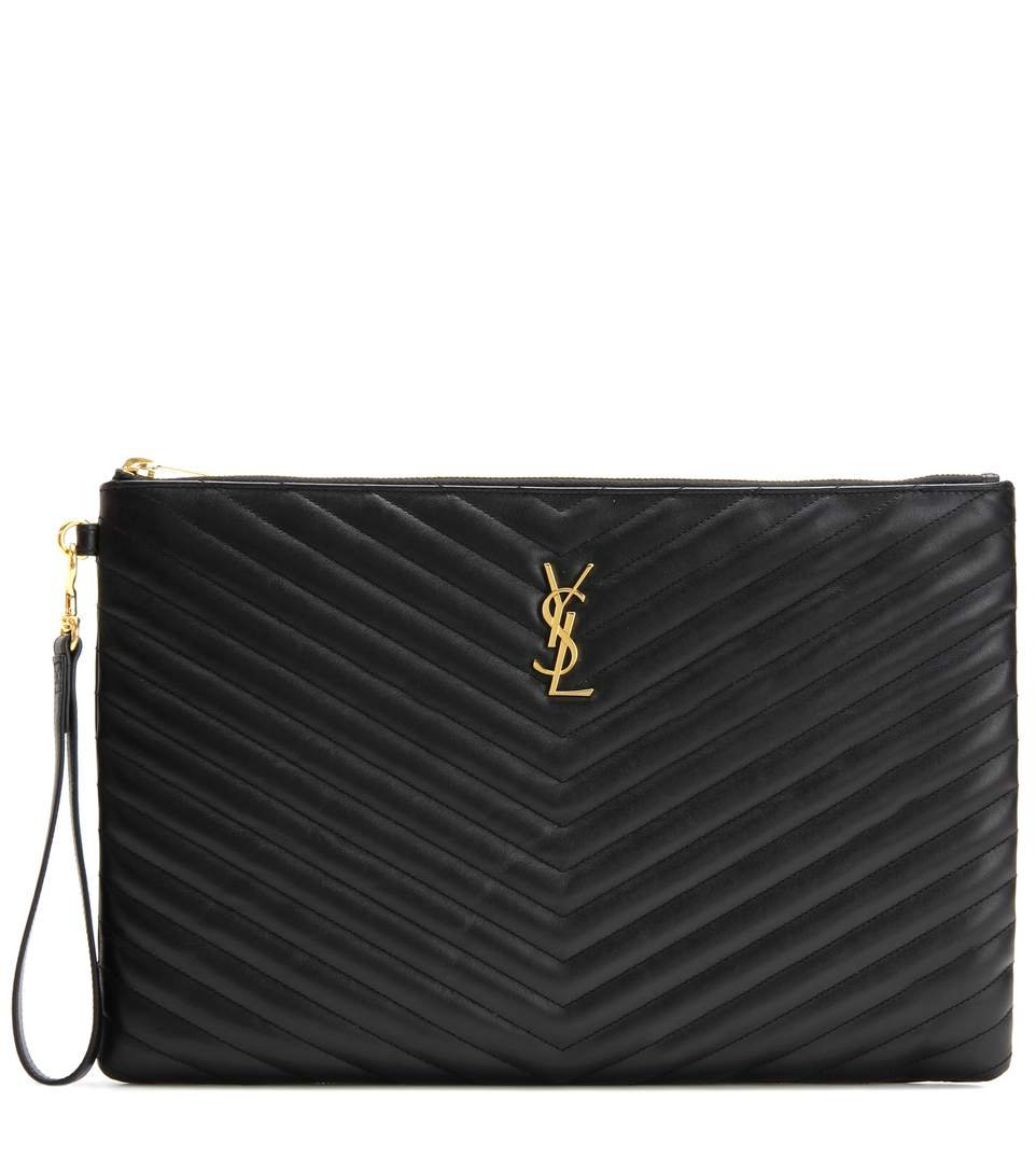 Monogram Leather Pouch in Black