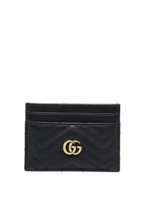 Women'S Marmont Monogram Matelassé Card Case In Black