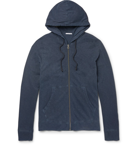 Loopback Supima Cotton-jersey Zip-up Hoodie - Storm blueJames Perse