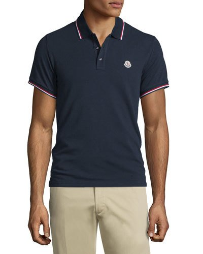 ada454b98 Navy-Tipped Short-Sleeve Pique Polo Shirt, Navy