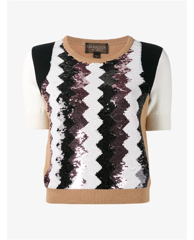 Sequin Embellished Chevron Cashmere Top, Brown