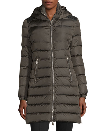 Orophin Long Puffer Coat W/Leather Trim, Olive in Green