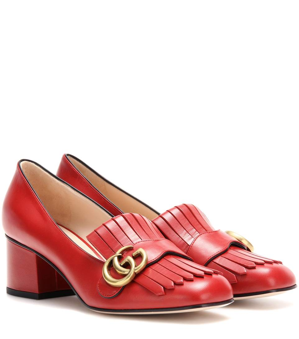 Marmont Patent Leather Mid-Heel Pump, Red