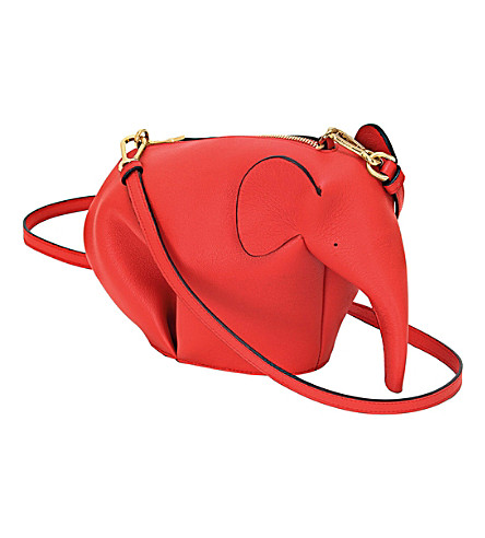 Elephant Minibag Leather Shoulder Bag, Red