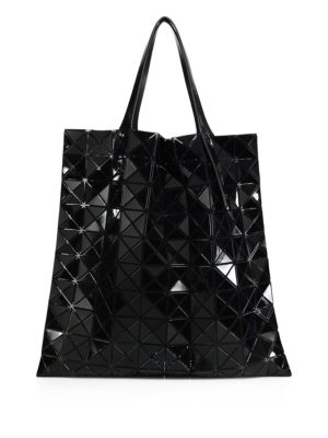 Prism Basic Metallic Faux Leather Tote in Black