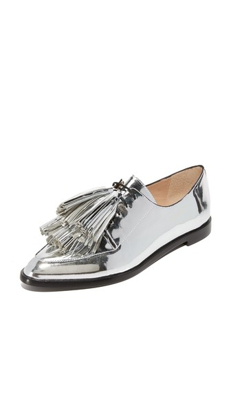 Jasper Tassel Metallic Leather Oxfords, Silver