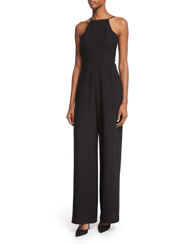 BLACK HALO Square-Neck Tailored-Leg Jumpsuit, Black