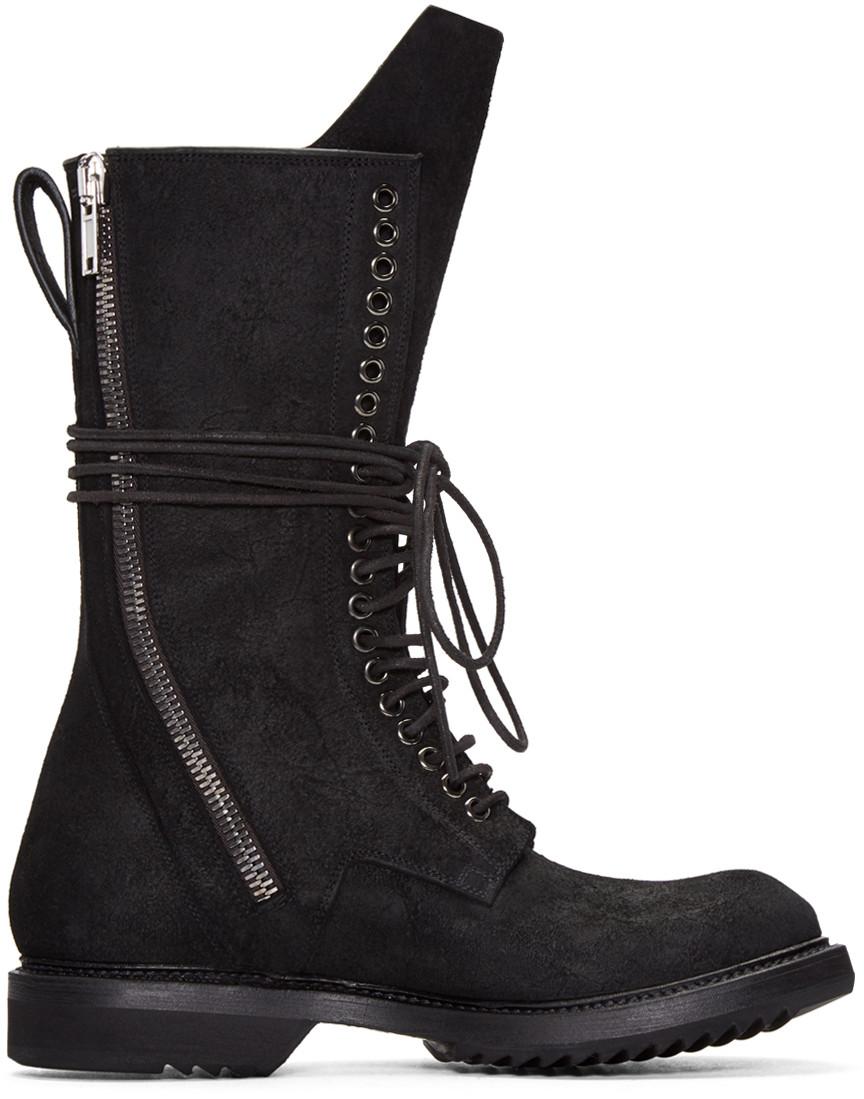 Black Db Zip Lace-Up Boots