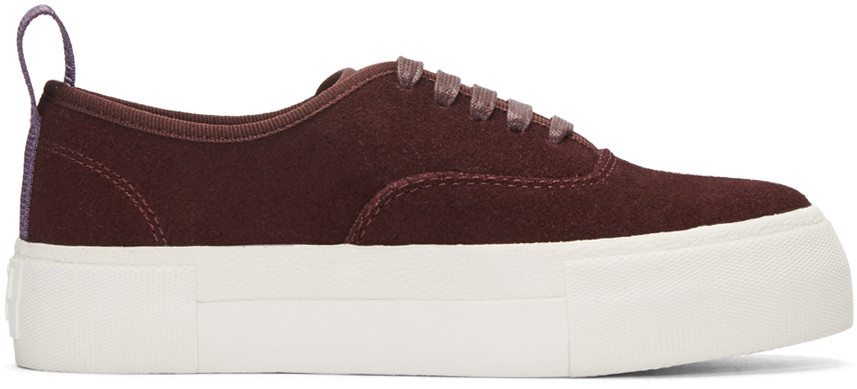 Woman Mother Suede Platform Sneakers Burgundy in Pink