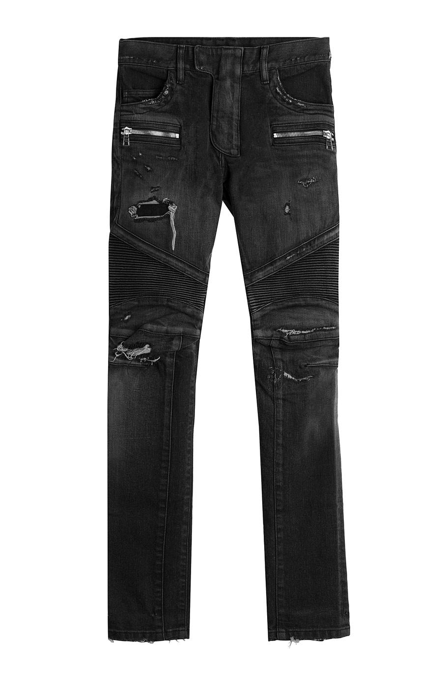 Balmain Slim Fit Distressed Denim Biker Jeans In Washed Black Modesens Ripped Faded